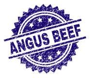 Γρατσουνισμένη κατασκευασμένη σφραγίδα γραμματοσήμων του ANGUS BEEF διανυσματική απεικόνιση