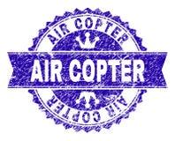 Γρατσουνισμένη κατασκευασμένη σφραγίδα γραμματοσήμων AIR COPTER με την κορδέλλα διανυσματική απεικόνιση