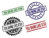 Γρατσουνισμένος κατασκευασμένος ΕΣΕΙΣ ΛΑΜΠΕΙ ΟΠΩΣ τα γραμματόσημα σφραγίδων του STAR διανυσματική απεικόνιση