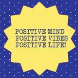 Γραφής κειμένων θετική θετική ζωή Vibes μυαλού θετική Έννοια που σημαίνει την έμπνευση κινήτρου για να ζήσει δεκατέσσερα 14 διανυσματική απεικόνιση