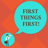 Γραφής πρώτη έννοια πραγμάτων κειμένων πρώτη που σημαίνει τα σημαντικά θέματα εάν εξετασμένος ενώπιον άλλου ατόμου πραγμάτων μέσα διανυσματική απεικόνιση
