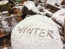 Γραφή του χειμώνα λέξης σε έναν φραγμό του ξύλου μετά από το πρώτο χιόνι από τη δευτερεύουσα γωνία κινηματογραφήσεων σε πρώτο πλά Στοκ Εικόνες