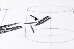 Γραφίτης για τις πυξίδες - τεχνικό σχέδιο Στοκ εικόνα με δικαίωμα ελεύθερης χρήσης