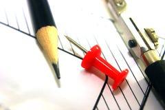 Γραφείου κουμπί, κόκκινο χρώμα στο σχέδιο, εργασία μηχανικών στοκ φωτογραφία με δικαίωμα ελεύθερης χρήσης