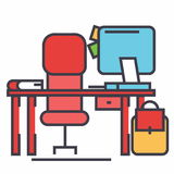 Γραφείο γραφείων με την έννοια υπολογιστών και καρεκλών ελεύθερη απεικόνιση δικαιώματος