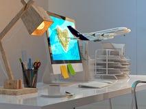 Γραφείο γραφείων με τον υπολογιστή, τα χαρτικά, το λαμπτήρα και το αεροπλάνο που πετούν από το εικονικό νησί διανυσματική απεικόνιση