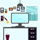 Γραφείο διαστήματος εργασίας οριζόντια εσωτερικό στη εικονική παράσταση πόλης, θέση εργασίας συμπυκνωμένη απεικόνιση αποθεμάτων