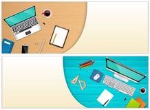 Γραφείο εργασιακών χώρων με έναν εξοπλισμό lap-top και γραφείων Στοκ Φωτογραφίες