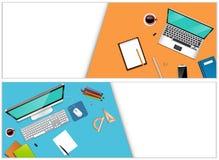 Γραφείο εργασιακών χώρων με έναν εξοπλισμό lap-top και γραφείων Στοκ Εικόνες