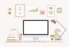 Γραφείο και χώρος εργασίας επιτραπέζιων επίπεδοι διανυσματικοί επιχειρήσεων ελεύθερη απεικόνιση δικαιώματος