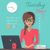 Γραφείο κυρία Writing Down εβδομαδιαίως σχέδιο απεικόνιση αποθεμάτων