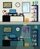 Γραφείο μέρα και νύχτα Στοκ φωτογραφία με δικαίωμα ελεύθερης χρήσης