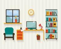Γραφείο με τα έπιπλα διανυσματική απεικόνιση