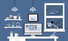 Γραφείο με το σύνολο, τα έγγραφα και τα χαρτικά υπολογιστών Εργασιακός χώρος για Στοκ εικόνες με δικαίωμα ελεύθερης χρήσης
