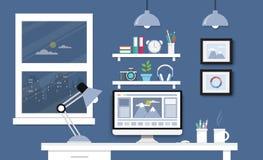 Γραφείο με το σύνολο, τα έγγραφα και τα χαρτικά υπολογιστών Εργασιακός χώρος για Στοκ Εικόνες