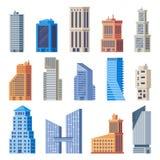 γραφείο πόλεων κτηρίων Το κτήριο γυαλιού, το σύγχρονο αστικό εξωτερικό γραφείων και τα πόλης ψηλά σπίτια απομόνωσαν το διανυσματι ελεύθερη απεικόνιση δικαιώματος