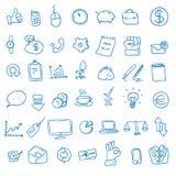 Γραφείο Doodle, επιχειρησιακά εικονίδια καθορισμένα, Στοκ Εικόνα