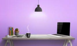 γραφείο lap-top γραφείων Βιβλία, εγκαταστάσεις, έγγραφο, μάνδρα, καφές, μαξιλάρι στον πίνακα Στοκ Φωτογραφία