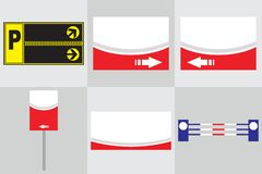 Γραφείων εξωτερική μνημείων κατασκευή διαφήμισης συστημάτων σηματοδότησης σημαδιών σημαδιών pylon r διανυσματική απεικόνιση