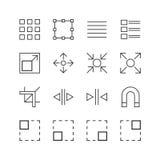 Γραφικά εικονίδια στοιχείων - διανυσματική απεικόνιση, εικονίδια γραμμών καθορισμένα Στοκ Εικόνα