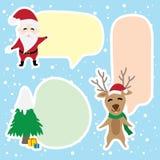 Γραφικά κινούμενα σχέδια συνόρων για Άγιο Βασίλη και τον τάρανδο στη ημέρα των Χριστουγέννων απεικόνιση αποθεμάτων