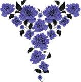 Γραφικά μπροστινά μπλε τριαντάφυλλα Διανυσματική απεικόνιση