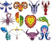 Γραφικά σημάδια αστείο Zodiac ελεύθερη απεικόνιση δικαιώματος