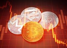 Γραφικές παραστάσεις επιτυχίας Cryptocurrencies με την πτώση διαγραμμάτων Έννοια πτώσης Cryptocurrencies απεικόνιση αποθεμάτων