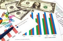Γραφικές παραστάσεις χρηματοδότησης, αμερικανικά δολάρια χρημάτων και μια μπλε μάνδρα. Στοκ Εικόνα