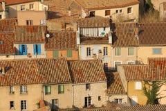 Γραφικές στέγες στο χωριό Carcassonne Γαλλία Στοκ Εικόνες