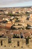 Γραφικές στέγες στο χωριό Carcassonne Γαλλία Στοκ φωτογραφία με δικαίωμα ελεύθερης χρήσης