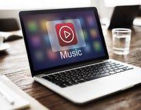 Γραφική έννοια εικονιδίων εφαρμογής κουμπιών φορέων μουσικής Στοκ εικόνα με δικαίωμα ελεύθερης χρήσης
