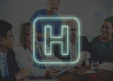 Γραφική έννοια εικονιδίων θεραπείας υγείας νοσοκομείων διαγώνια Στοκ Φωτογραφίες