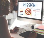 Γραφική έννοια επιχειρησιακών βελών στόχων στόχων βελών αποστολής Στοκ Φωτογραφία