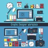 Γραφική έννοια εργασιακών χώρων σχεδιαστών ελεύθερη απεικόνιση δικαιώματος