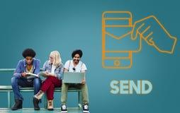 Γραφική έννοια ηλεκτρονικού ταχυδρομείου τεχνολογίας ηλεκτρονικού ταχυδρομείου Στοκ Φωτογραφίες