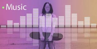 Γραφική έννοια κυμάτων μελωδίας μουσικής ακουστική Στοκ εικόνα με δικαίωμα ελεύθερης χρήσης