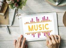 Γραφική έννοια κυμάτων τραγουδιού μουσικής ακουστική Στοκ Εικόνα