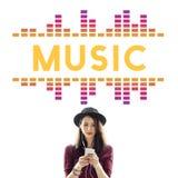 Γραφική έννοια κυμάτων τραγουδιού μουσικής ακουστική Στοκ φωτογραφία με δικαίωμα ελεύθερης χρήσης