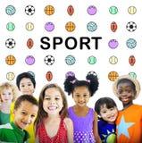 Γραφική έννοια σφαιρών αθλητικών επιστολών Στοκ Εικόνες