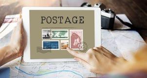 Γραφική έννοια ταχυδρομείου γραμματοσήμων δεμάτων επιστολών ταχυδρομικών τελών Στοκ Εικόνες