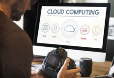 Γραφική έννοια ψηφιακής αποθήκευσης στοιχείων υπολογισμού σύννεφων στοκ εικόνα με δικαίωμα ελεύθερης χρήσης