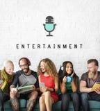 Γραφική έννοια Podcast πολυμέσων ψυχαγωγίας ακουστική Στοκ Εικόνα