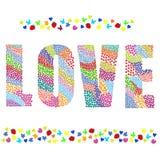 γραφική λέξη αγάπης απεικόνισης χεριών σχεδίων σχεδίου βάσης Στοκ Εικόνες