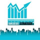 γραφική απεικόνιση επιχειρησιακής έννοιας πολλές άλλες σχετικές διανυσματικές λέξεις επιτυχίας στρατηγικής Στοκ Εικόνα