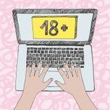 Γραφική απεικόνιση των χεριών παιδιών στο πληκτρολόγιο lap-top Το λογοκριμένο περιεχόμενο στο Διαδίκτυο υπέγραψε 18 ή παλαιότερος απεικόνιση αποθεμάτων