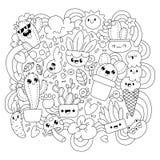 γραφική απεικόνιση χρωματισμού βιβλίων ζωηρόχρωμη Αστείοι κάκτοι στοκ εικόνες