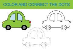 γραφική απεικόνιση χρωματισμού βιβλίων ζωηρόχρωμη Συνδέστε τα σημεία για να δημιουργήσετε το αυτοκίνητο Δραστηριότητα για τα παιδ ελεύθερη απεικόνιση δικαιώματος