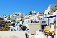 Γραφική αρχιτεκτονική Κυκλάδες νησιών Fira Santorini Στοκ Εικόνες