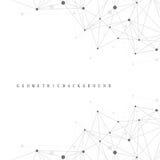 Γραφική αφηρημένη επικοινωνία υποβάθρου Γεωμετρικό επιστημονικό σχέδιο με τις ενώσεις Στοκ Εικόνα